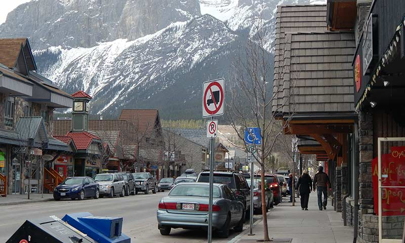 Downtown Canmore in fall.