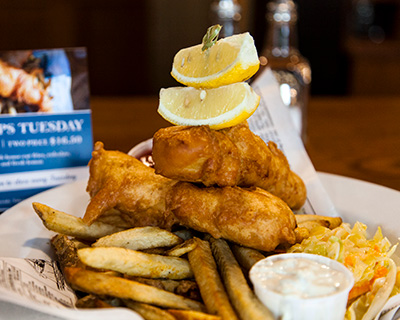 Best Fish and Chips in the Bow Valley at the Miners Lamp Pub